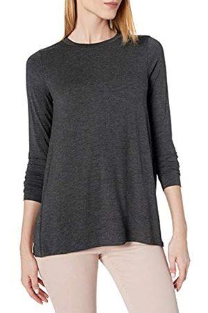 Daily Ritual Long-Sleeve Split-Hem Tunic Shirts, Charcoal Heather Grey, US S