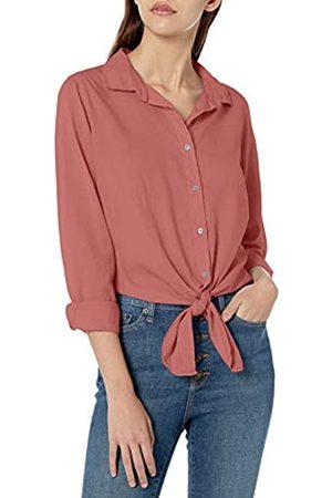 Goodthreads Lightweight Poplin Tie-Front Shirt Dress-Shirts, Dark Rose, US XXL