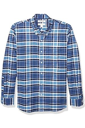 Goodthreads Standard-Fit Long-Sleeve Stretch Oxford Shirt Button-Down-Shirts, Denim Blue Multi Plaid, Large Tall