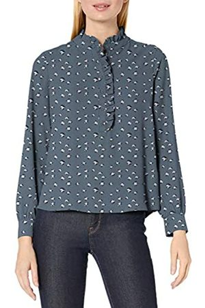 Lark & Ro Manica Lunga Ruffle Placket Button-up Camicetta Blouses, Steely Blue Animal, US 12