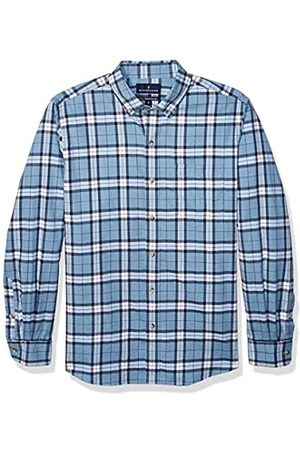 Buttoned Down Classic Fit Supima Cotton Brushed Twill Plaid Sport Shirt Button-Down-Shirts, Heather Blue, US