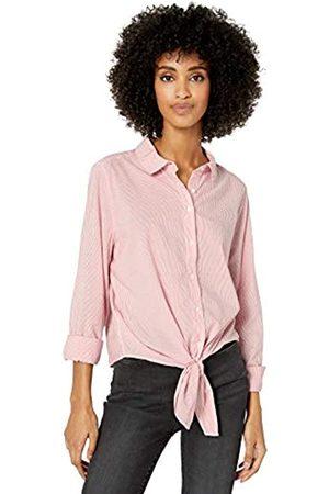 Goodthreads Lightweight Poplin Tie-Front Shirt Dress-Shirts, White/Coral Mini-Stripe, US XL
