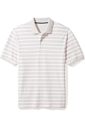 Amazon Essentials Regular-Fit Striped Cotton Pique Polo Shirt, Grey Stripe, XL