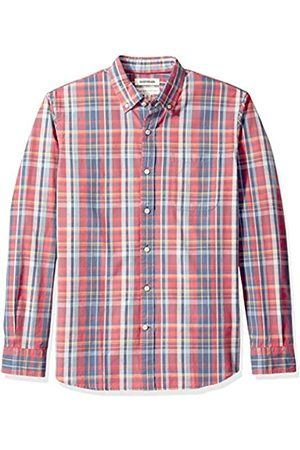 Goodthreads Standard-Fit Long-Sleeve Pattern Chambray Camicia, Denim Plaid Red, US