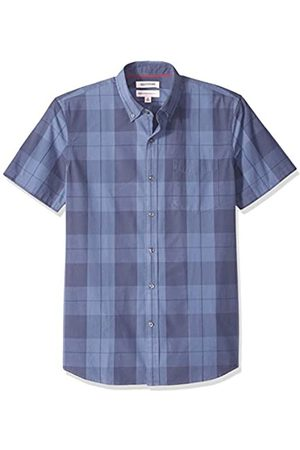 Goodthreads Standard-Fit Short-Sleeve Plaid Poplin Shirt Camicia Che Si abbottona, Indigo Large, X Tall