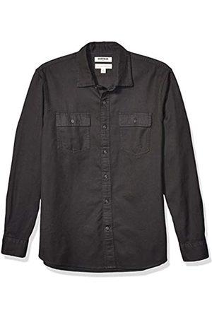 Goodthreads Slim-Fit Long-Sleeve Plaid Twill Shirt Camicia Che Si abbottona, Dark Grey, XL