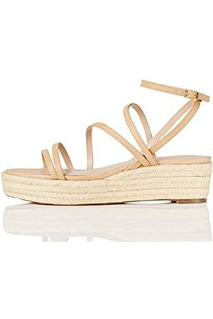 FIND Marchio Amazon - Strippy Wedge Espadrille Sandalo Espadrillas con Zeppa, Beige , 37 EU