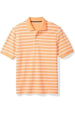 Amazon Uomo Polo - Regular-Fit Striped Cotton Pique Polo Shirt Shirts, Righe Corallo, US M