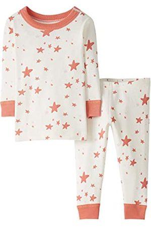 Moon and Back by Hanna Andersson Pigiama a maniche lunghe per bambino piccolo, in cotone biologico, 2 pezzi, stampa con stelle , Coral Star, 6-12 mesi
