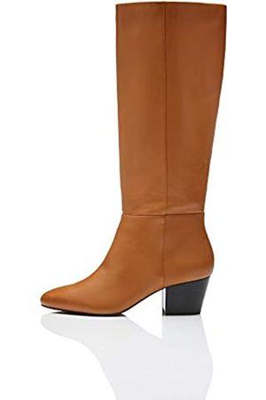 FIND Leather Stivali sopra Il Ginocchio, Tan), 40 EU