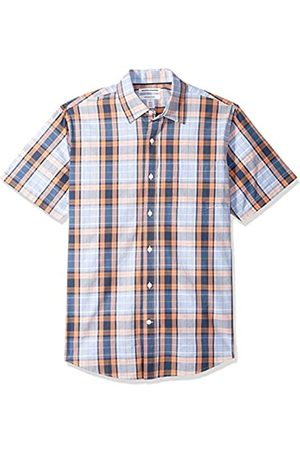 Amazon Regular-Fit Short-Sleeve Plaid Shirt Button-Down-Shirts, Coral/Navy, US M