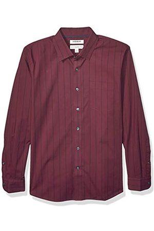 Goodthreads Uomo Maniche lunghe - Marchio Amazon - , camicia da uomo, a maniche lunghe, popeline elasticizzato e comodo, facile da lavare, Standard Fit, Burgundy Navy Double Stripe, US L