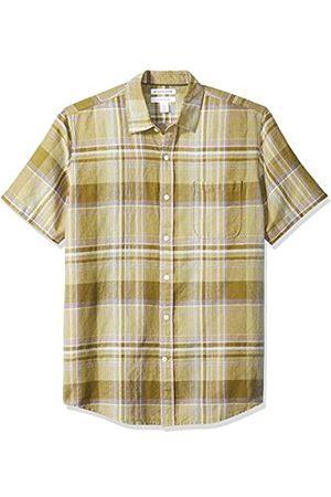Amazon Camicia da uomo a maniche corte in lino, a quadretti, vestibilità standard, Olive Plaid, US L