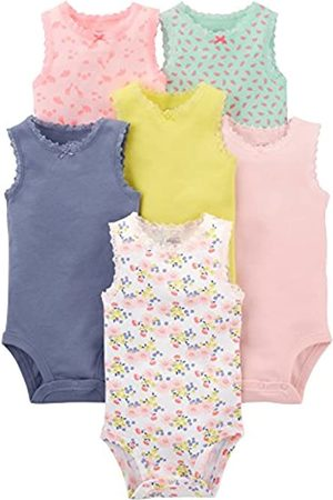 Simple Joys by Carter's Body senza maniche, confezione da 6 ,Pink, Purple, Yellow, Floral ,3-6 months