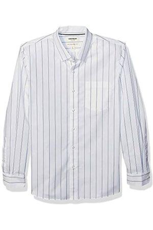 Goodthreads Marchio Amazon - , camicia da uomo, a maniche lunghe, popeline elasticizzato e comodo, facile da lavare, Standard Fit, White Blue Double Stripe, US XXXL