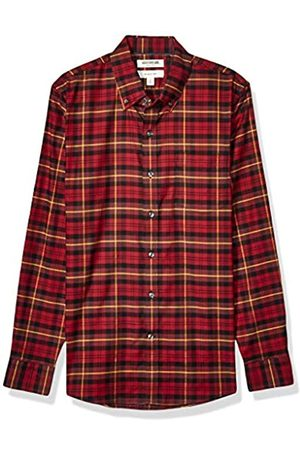 Goodthreads Uomo Casual - Slim-Fit Long-Sleeve Stretch Oxford Shirt Camicia, Uomo, Red Gold Tartan, M Tall