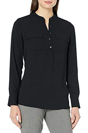 Lark & Ro Long Sleeve Sheer Utility Woven Tunic Top with Band Collar Shirts, , US 2