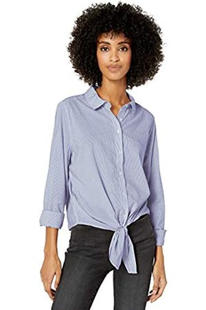 Goodthreads Lightweight Poplin Tie-Front Shirt Dress-Shirts, Blue/White Mini-Stripe, US XL
