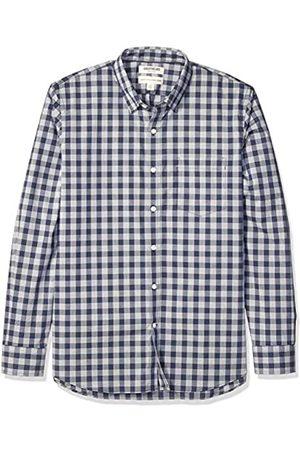 Goodthreads Standard-Fit Long-Sleeve Stretch Poplin Button-Down-Shirts, Navy Glen Plaid, US L