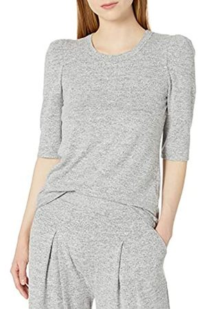 Daily Ritual Cozy Knit Puff-Shoulder Top Shirts, Heather Grey Marl, US S