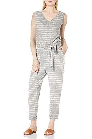 Daily Ritual Cozy Maglia Senza Maniche Cravatta Vita Tuta Jumpsuits-Apparel, Heather Grey Marl/White Stripe, US L