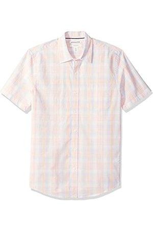 Amazon Essentials Camicia da uomo a maniche corte, in popeline, stile casual, Slim Fit, Pink/White Plaid, US M