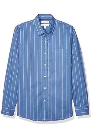 Goodthreads Marchio Amazon - , camicia da uomo, a maniche lunghe, popeline elasticizzato e comodo, facile da lavare, Standard Fit, Blue White Double Stripe, US M