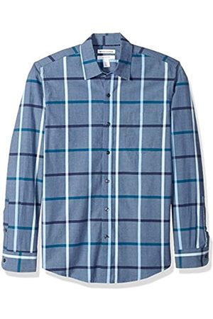 Amazon Essentials Camicia da uomo a maniche lunghe, slim fit, in popeline casual, Denim Large Plaid, US M