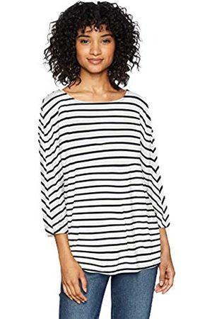 Daily Ritual Jersey Bunch-Sleeve Top Fashion-t-Shirts, White-Navy Stripe, US XL