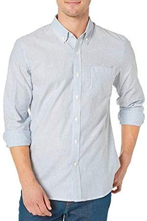 Goodthreads Standard-Fit Long-Sleeve Stretch Oxford Shirt Camicia Che Si abbottona, Denim Blue Bengal Stripe, XL Tall