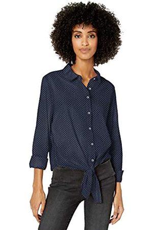Goodthreads Lightweight Poplin Tie-Front Shirt Dress-Shirts, Navy/Pink Mini-DOT, US