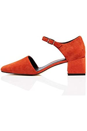 FIND Block Heel Two Part Suede Mary Jane, Red), 41 EU