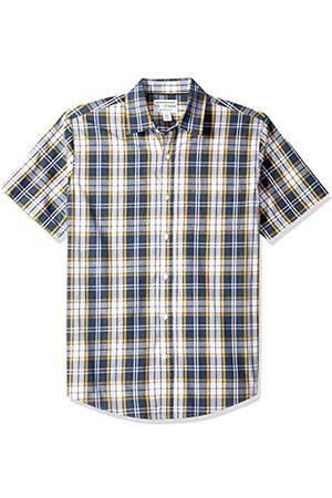 Amazon Regular-Fit Short-Sleeve Plaid Shirt Button-Down-Shirts, Navy/Gold, US
