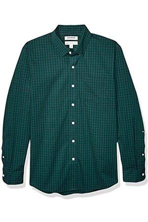 Goodthreads Marchio Amazon - , camicia da uomo, a maniche lunghe, popeline elasticizzato e comodo, facile da lavare, Standard Fit, Green Navy Gingham, US S