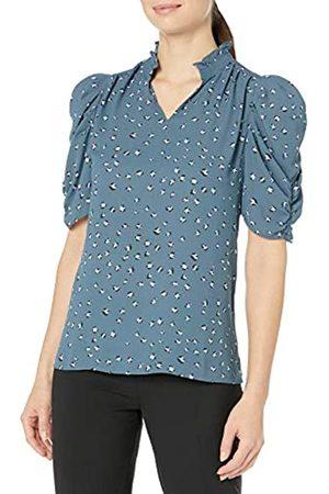 Lark & Ro Half Sleeve Ruffle Neck Woven Blouse Dress-Shirts, Steely Blue Animal, US