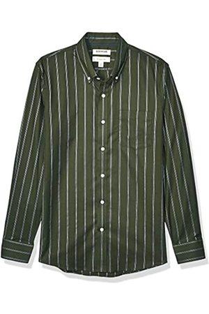 Goodthreads Slim-Fit Long-Sleeve Stretch Oxford Shirt Camicia, Uomo, Olive White Triple Stripe, 3XL