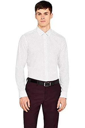 FIND Marchio Amazon - Hem & Seam Slim Fit Printed, Camicia Business Uomo, Weiß , 42 cm, Label: XL
