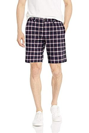 Goodthreads 9 inch Inseam Linen Cotton Short Pantaloncini Casual, Navy Red Check, 38