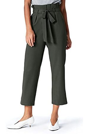 FIND Marchio Amazon - Paperbag Waist Pantaloni Donna, Grün , 40, Label: XS