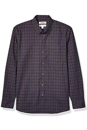 Goodthreads Marchio Amazon - , camicia da uomo, a maniche lunghe, popeline elasticizzato e comodo, facile da lavare, Standard Fit, Purple Green Check, Large Tall