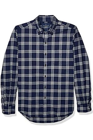 Buttoned Down Slim Fit Supima Cotton Brushed Twill Plaid Sport Shirt Button-Down-Shirts, Navy/White, US M