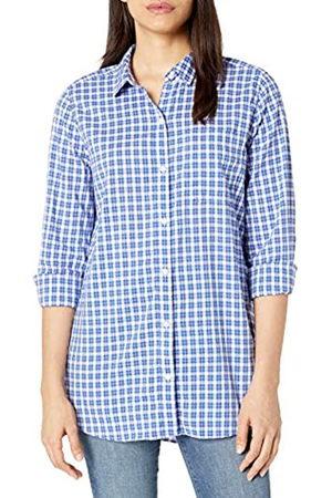 Goodthreads Lightweight Poplin Long-Sleeve Boyfriend Shirt Dress-Shirts, Blue/Orange/White Plaid, US M -L