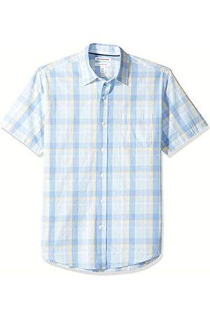 Amazon Regular-Fit Short-Sleeve Plaid Shirt Button-Down-Shirts, Aqua/Blue, US M