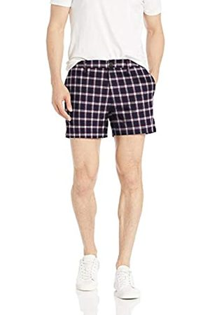 Goodthreads Uomo Pantaloncini - 5 inch Inseam Linen Cotton Short Shorts, Navy Red Check, 28