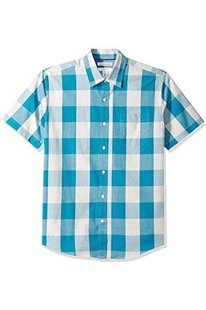 Amazon Camicia da uomo a maniche corte, in tessuto popeline, motivo scozzese, casual, vestibilità standard, Teal Buffalo Check, US XL