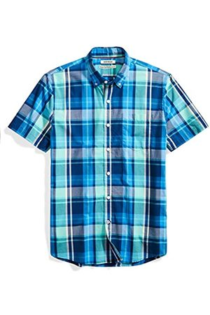 Goodthreads Standard-Fit Short-Sleeve Large-Scale Plaid Shirt Camicia, Blue/Aqua, Small