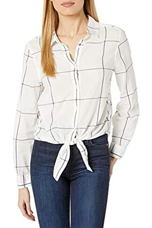Goodthreads Lightweight Poplin Tie-Front Shirt Dress-Shirts, off-White/Navy Windowpane, US XXL