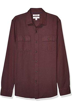 Goodthreads Slim-Fit Long-Sleeve Plaid Herringbone Shirt Camicia Che Si abbottona, Burgundy, 3XL