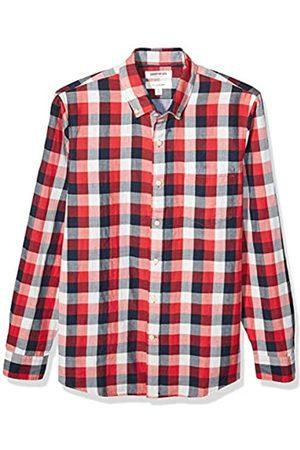 Goodthreads Marchio Amazon - , camicia in denim da uomo, vestibilità slim, a maniche lunghe, double-face, Red Navy Buffalo With Chambray, US L