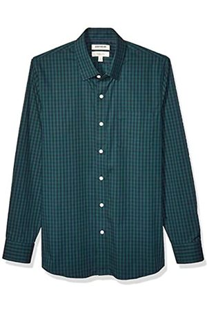 Goodthreads Marchio Amazon - , camicia da uomo, a maniche lunghe, popeline elasticizzato e comodo, facile da lavare, Slim Fit, Green Navy Gingham, XX-Large Tall